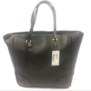 Gucci #449242 Micro-GG Black Leather Lrge Zip Tote